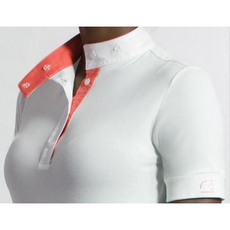 Polo manga corta con cuello mandarín, abertura e interior del cuello color coral de Razza Pura