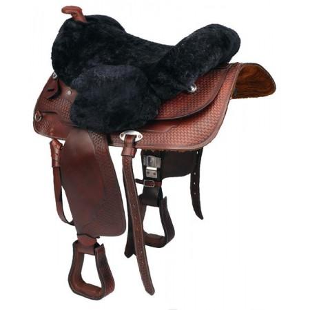 Asiento de borreguillo natural para silla de montar western de C.S.O.