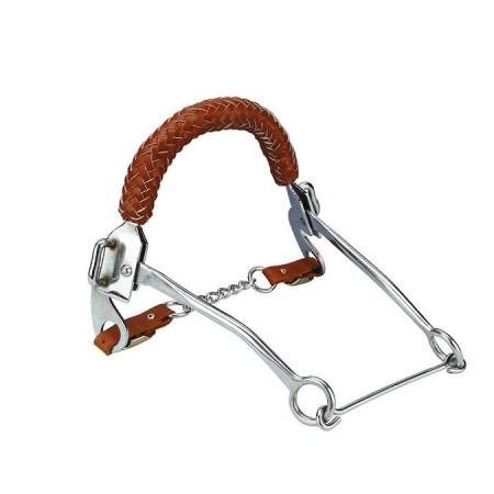 Hackamore para caballo con muserola de cuero trenzado