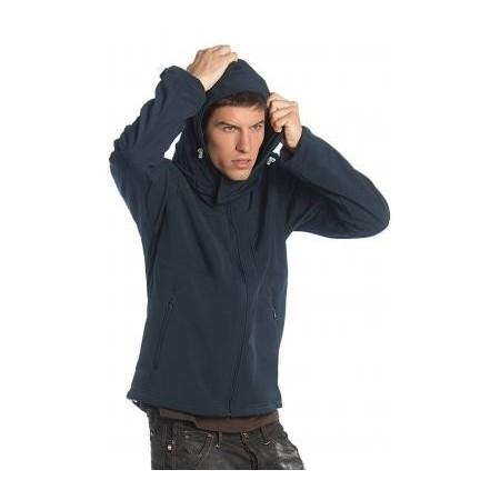 Chaqueta hombre Softshell con capucha transpirable y resistente al agua