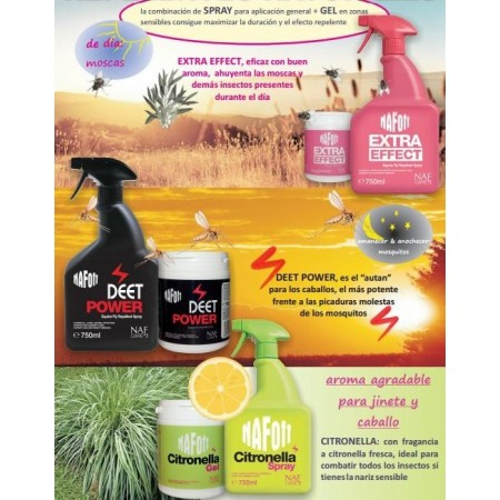 Gel repelente natural de insectos para caballo Deet Power de Naf Off (750gr)
