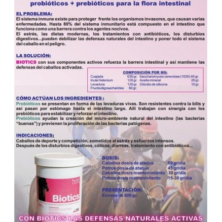 Probióticos + prebióticos para caballo Biotics